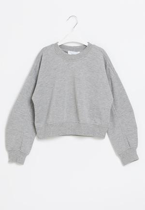 Girls cutline detail sweat top - grey