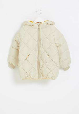 Quilted puffer jacket - beige