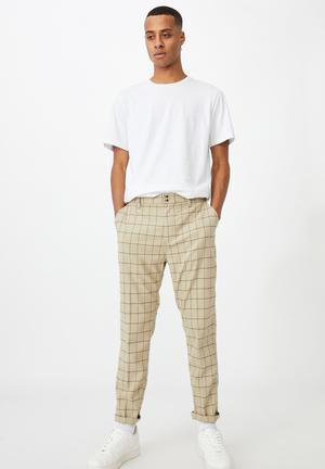 Oxford trouser - beige window check