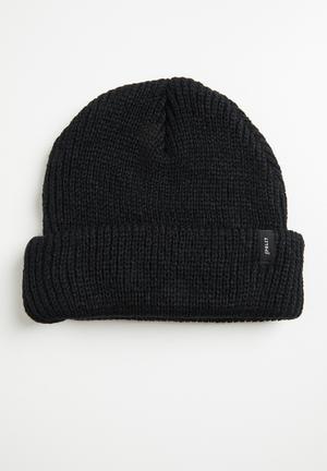 Ribbed knit beanie - black