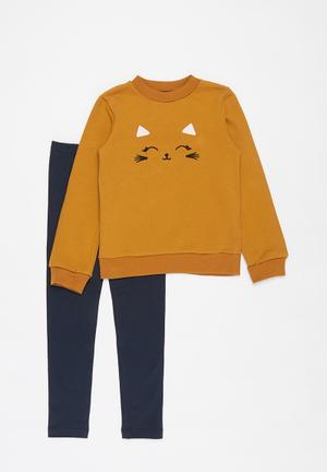 Printed sweat top & leggings set - mustard & navy