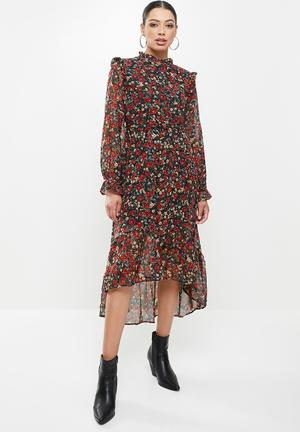 Frill neck midi smock floral dress - multi