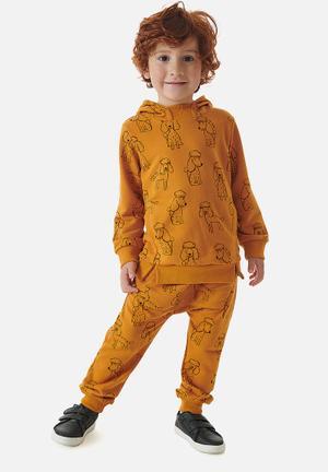 Boys sweatshirts & sweatpants set - dark orange