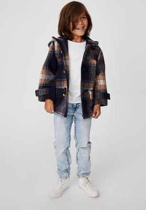 Lennon duffle coat - navy & brown
