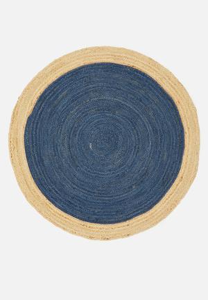 Kaya round jute rug - navy & natural