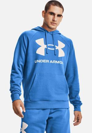 Ua rival fleece big logo hoodie - blue