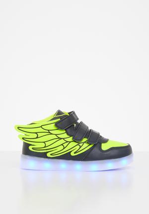 Boys light up sneakers - black & green
