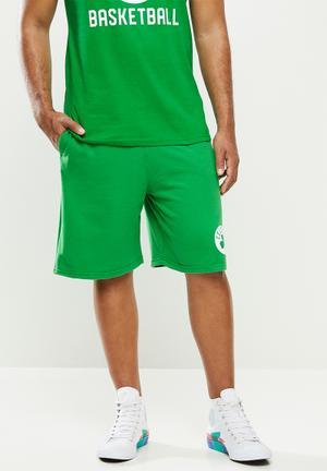 Celtic b/ball retro shorts  - cotton birdseye / surf interest - green