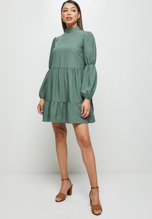 Tiered turtle mini dress - sage