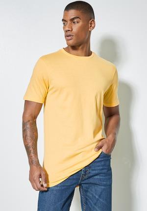 Barney longline curved hem tee - yellow