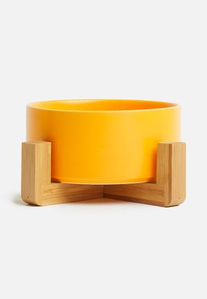 Ciao pet bowl with bamboo stand - mustard