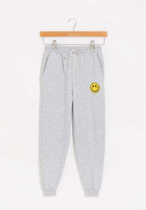 Graphic fleece jogger - grey