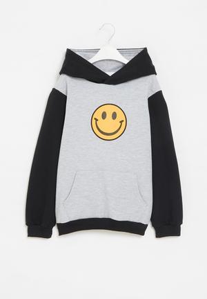 Hooded fleece colourblock hoodie - grey & black
