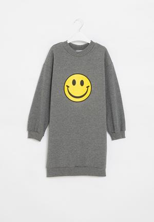 Girls fleece sweater dress - grey