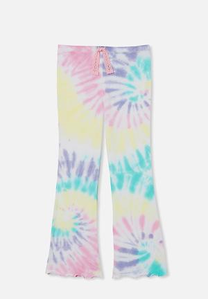 Francine flare pant - pastel spiral rainbow tie dye