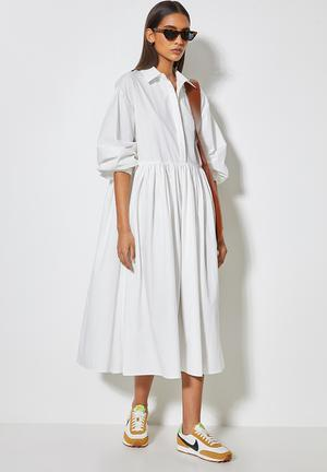 Collared babydoll dress - white