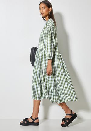 Seersucker babydoll dress - green & white gingham