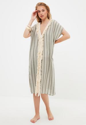 Tassel detailed rustic kimono kaftan - grey