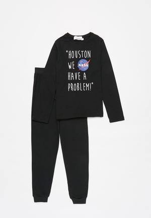 Nasa boys top & pants pj - black