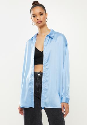 Basic satin shirt - blue