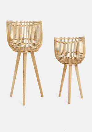 Hien bamboo & wood planter set - neutral
