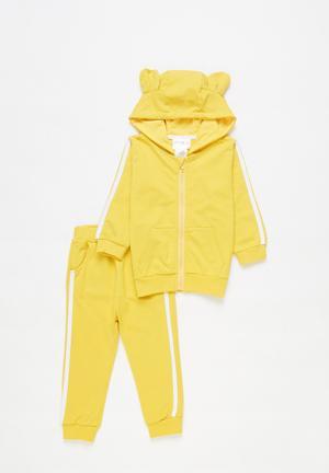 Girls sweatset with ears - yellow