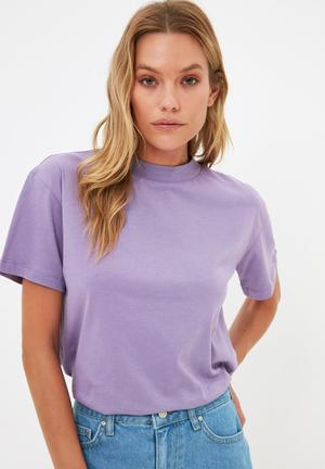 Stand up collar basic knitted T-shirt - lilac
