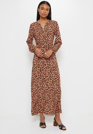 Mandarin collar balloon  sleeve maxi - rust floral