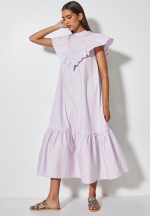 Ruffle funnel neck dress - lavender