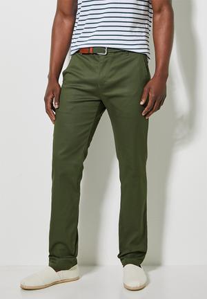 Caleb slim chino - khaki green