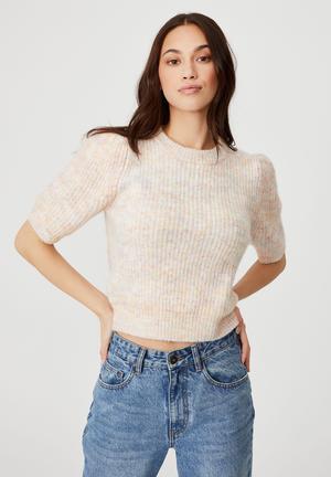 Short sleeve multi pullover - pink multi