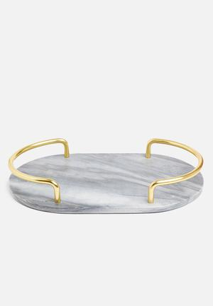 Grey marble oval shape drinks tray with gold handles