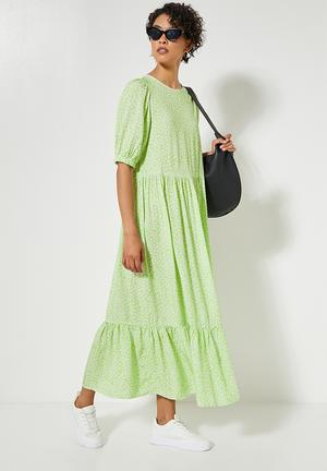 Tiered maxi dress -  lime condensed ditsy
