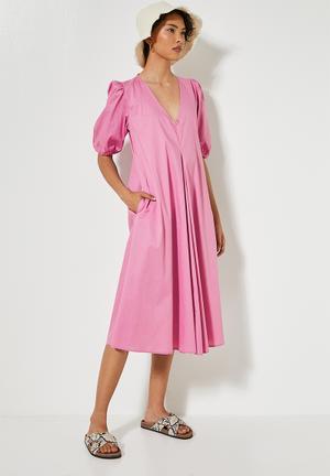 V-neck poplin trapeze dress - mauve pink