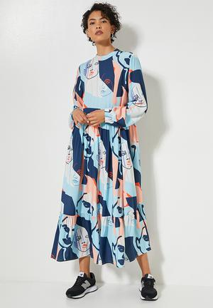 Funnel neck tiered dress - large abstract colour faces