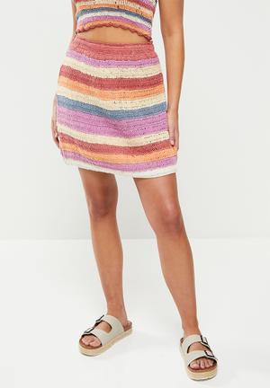 Crochet mini skirt - multi