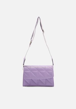 Diamond embossed shoulder bag - lilac