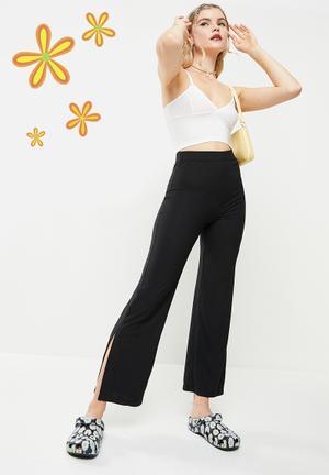 Side slit wide leg trouser - black