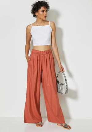 Linen pull on wide leg with slits - rust