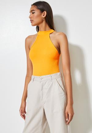 Rib funnel neck cutaway bodysuit - radiant yellow