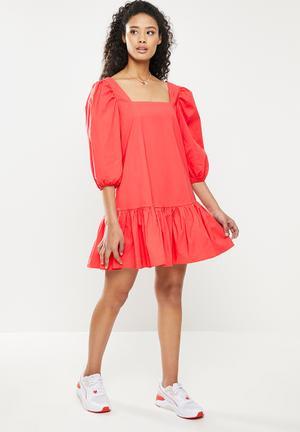 Elastane deep dress - coral