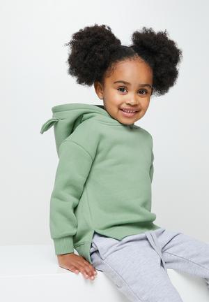 Girls hoodie with ears - green