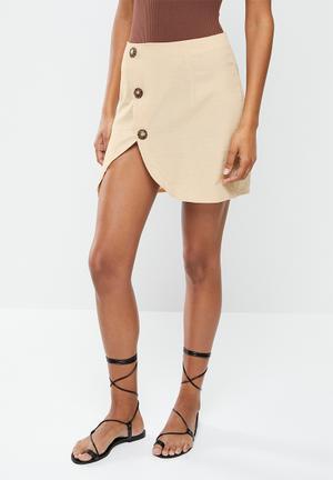Coord button side mini skirt linen look - sand