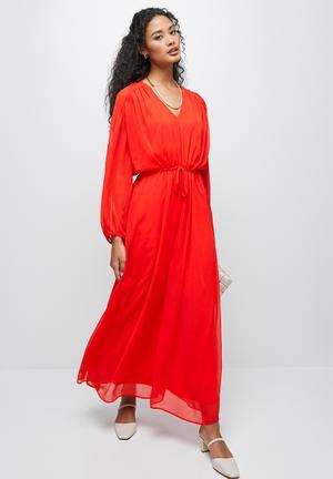 Gauged detail maxi dress - hot orange
