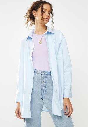 Extreme oversized poplin pastel shirt - blue