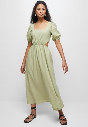 Linen cut out midi dress - green
