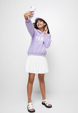 Printed hoodie - lilac