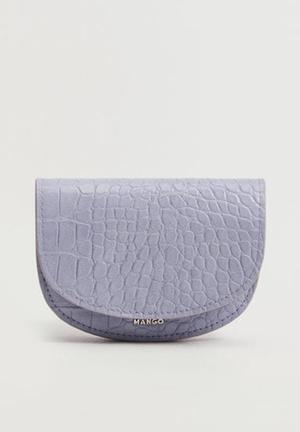 Croc-effect flap purse - lilac