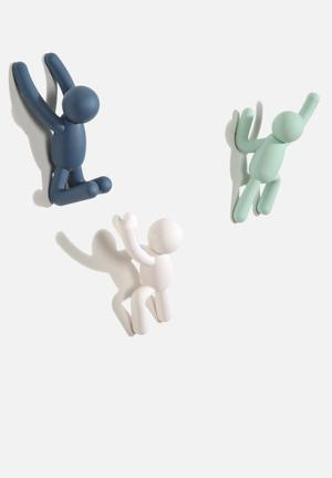 Umbra Buddy Hook Accessories Mint, White & Mist Blue