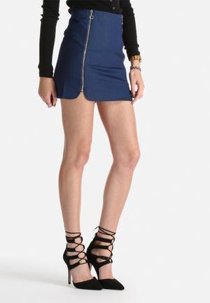 Denim Double Zip Skirt